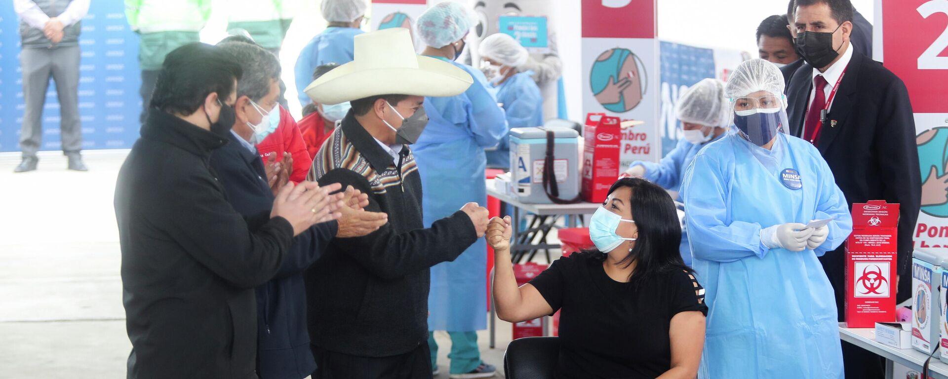 Pedro Castillo en campaña de vacunación contra el COVID-19 - Sputnik Mundo, 1920, 17.09.2021