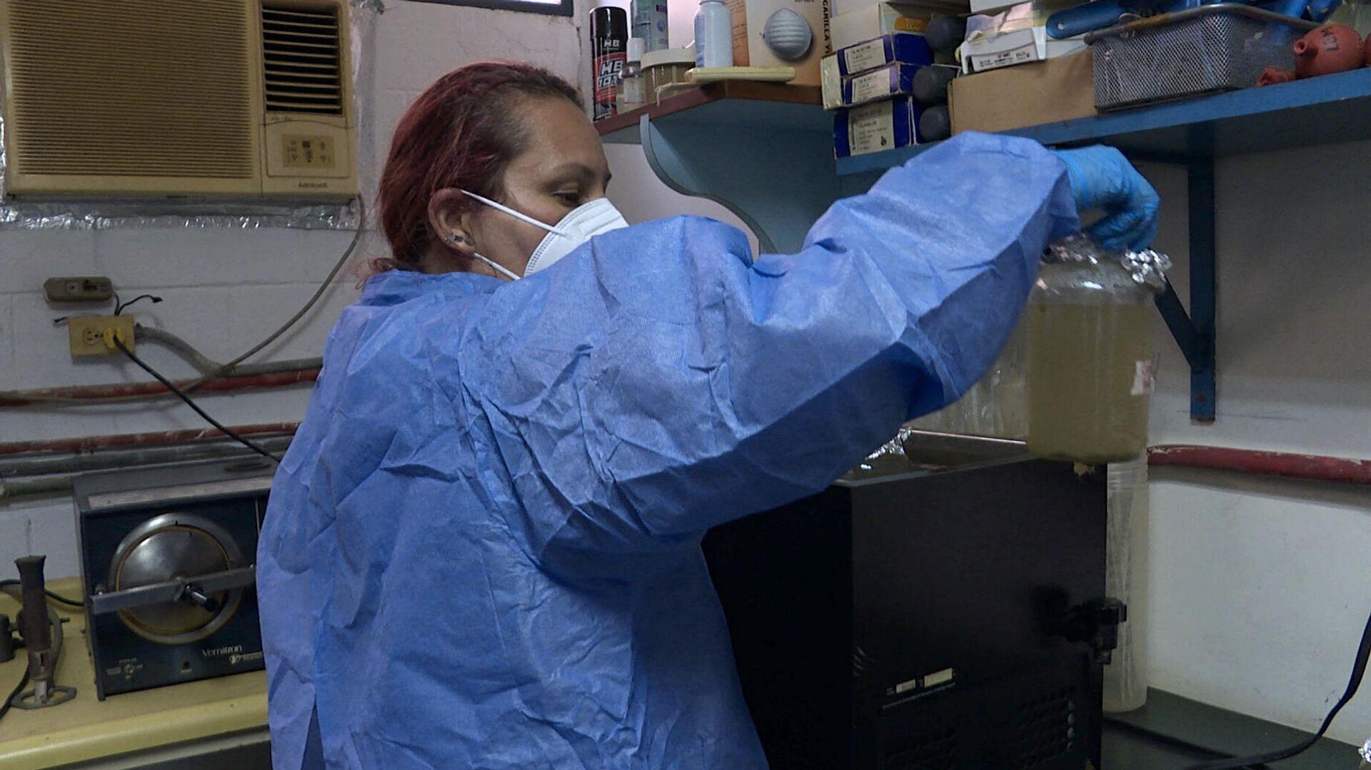 La investigadora venezolana Alejandra Zamora, durante el tratamiento de aguas residuales en un laboratorio de la UCV - Sputnik Mundo, 1920, 15.09.2021