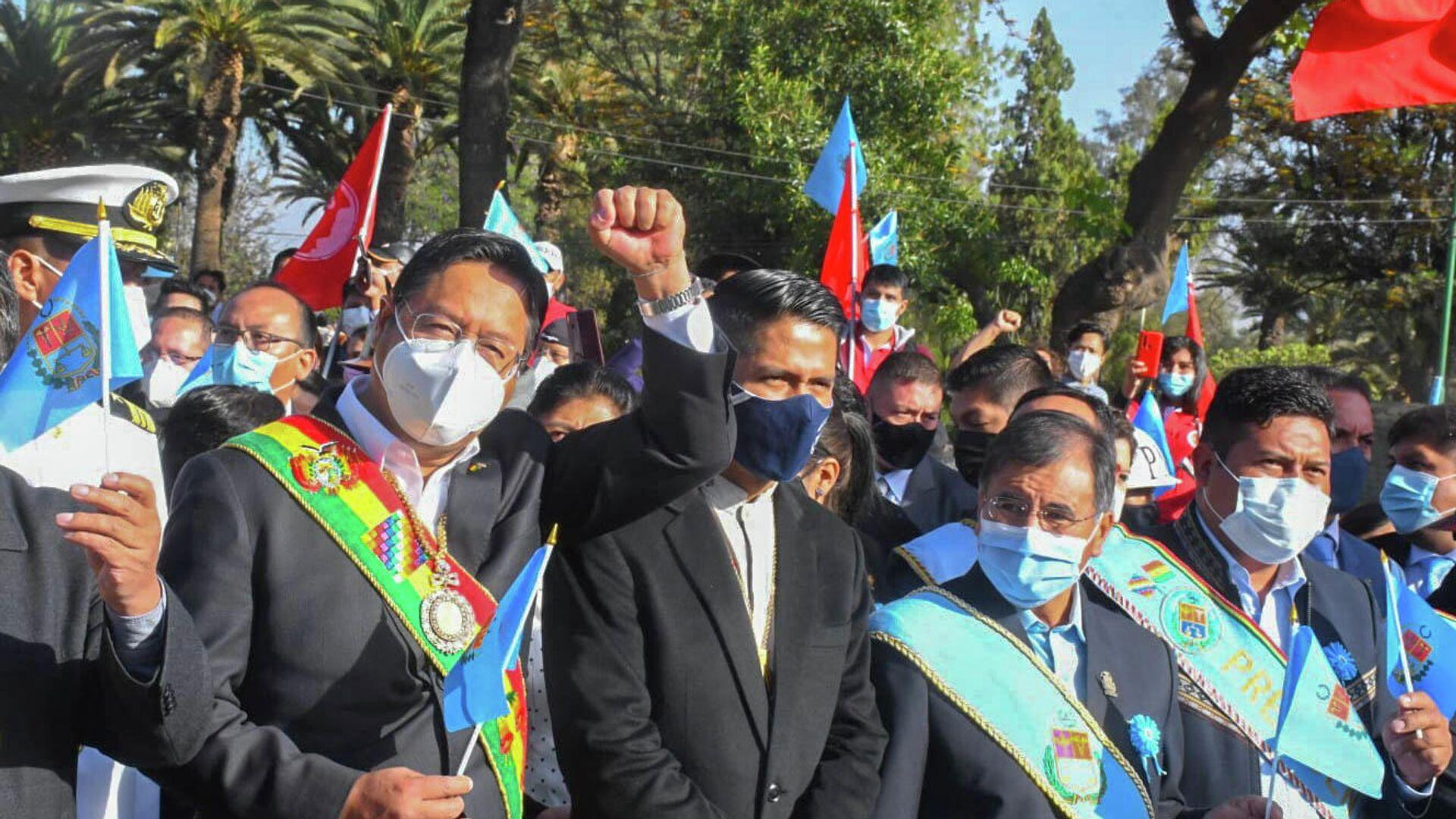 El presidente de Bolivia, Luis Arce, en el 211 aniversario de la Revolución Libertaria de Esteban Arze - Sputnik Mundo, 1920, 16.09.2021