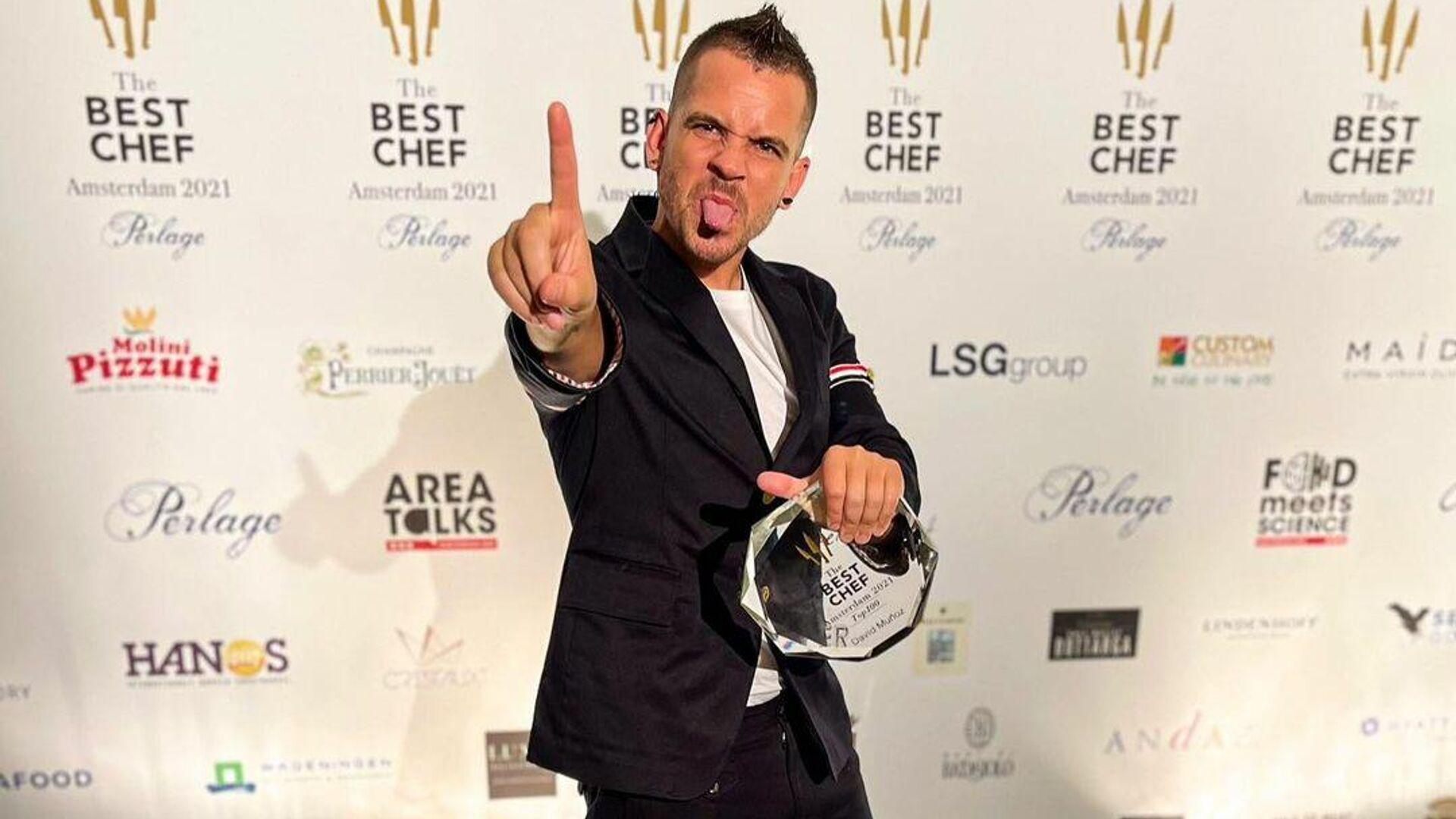 Dabiz Muñoz recogiendo el premio The Best Chef 2021 - Sputnik Mundo, 1920, 16.09.2021