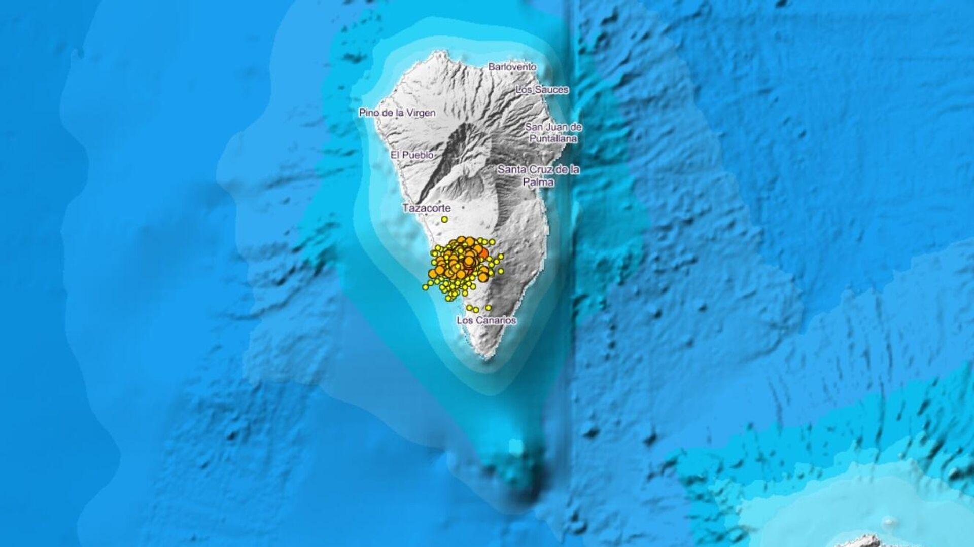 Localización de los seísmos en la isla de La Palma entre el 15 y el 17 de septiembre de 2021 - Sputnik Mundo, 1920, 17.09.2021