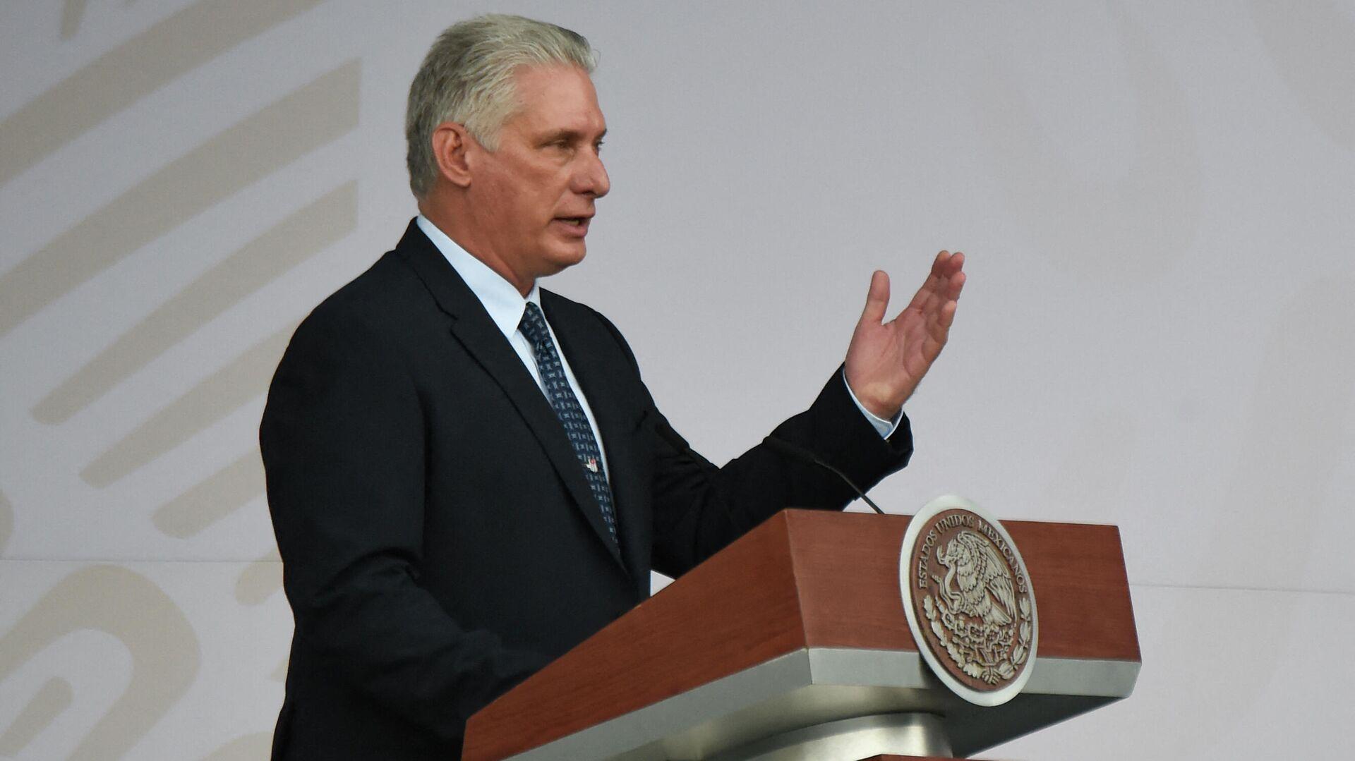El presidente de Cuba, Miguel Díaz-Canel, da un discurso con motivo de la celebración del Día de la Independencia de México, en Ciudad de México, el 16 de septiembre de 2021 - Sputnik Mundo, 1920, 19.09.2021