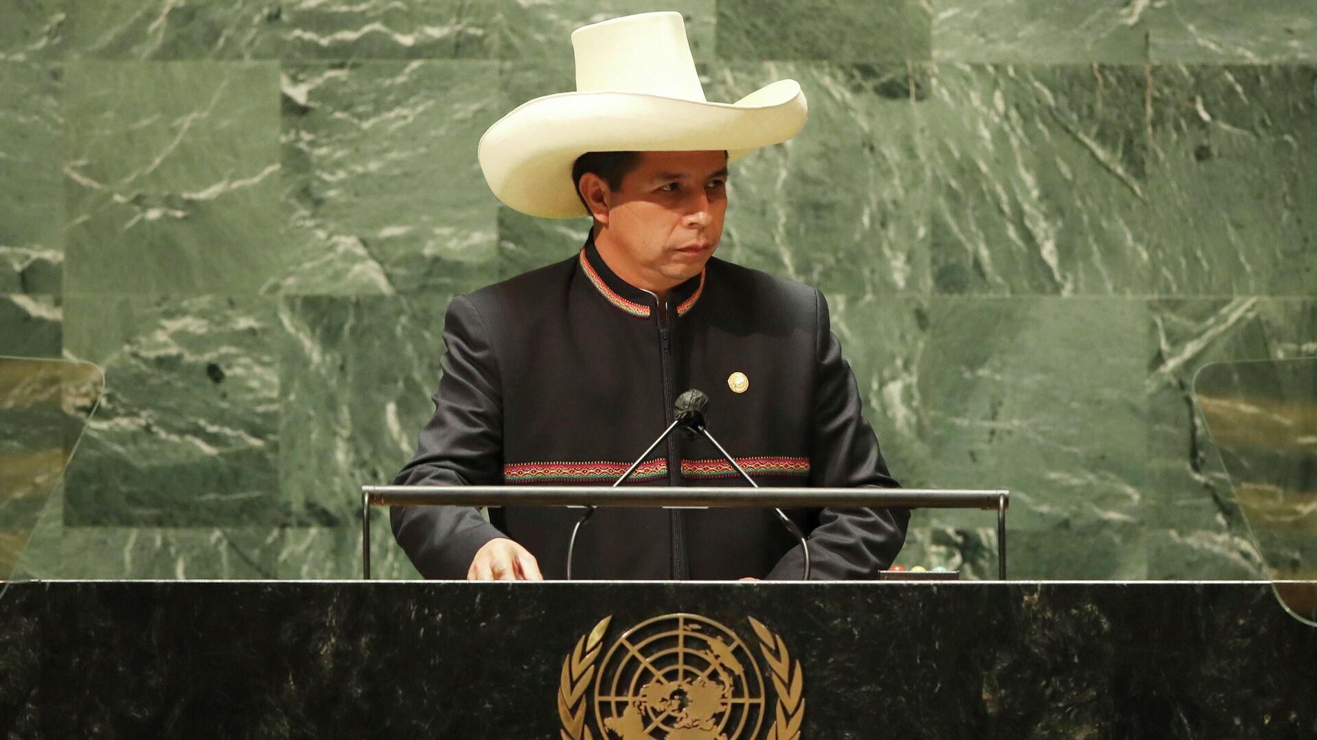 El presidente de Perú, Pedro Castillo, durante la Asamblea General de Naciones Unidas en 2021 - Sputnik Mundo, 1920, 22.09.2021