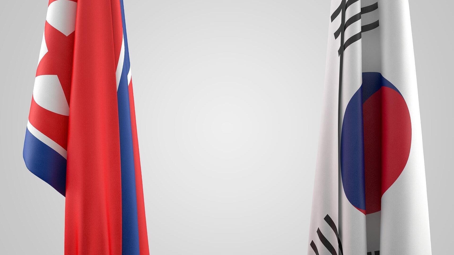 Las banderas de Corea del Norte y Corea del Sur - Sputnik Mundo, 1920, 24.09.2021