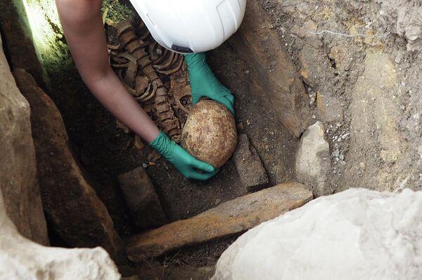 Extracción del esqueleto encontrado a la orilla de la ermita de San Tirso y San Bernabé (Burgos) - Sputnik Mundo