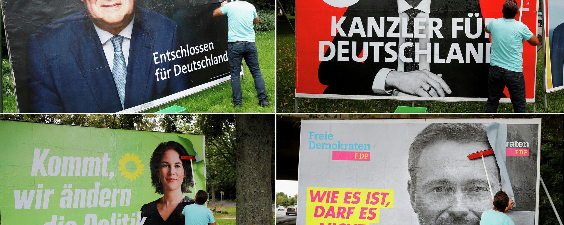 Carteles de los principales candidatos de Alemania para las elecciones parlamentarias del 26 de septiembre colocados en grandes paneles - Sputnik Mundo, 1920, 26.09.2021