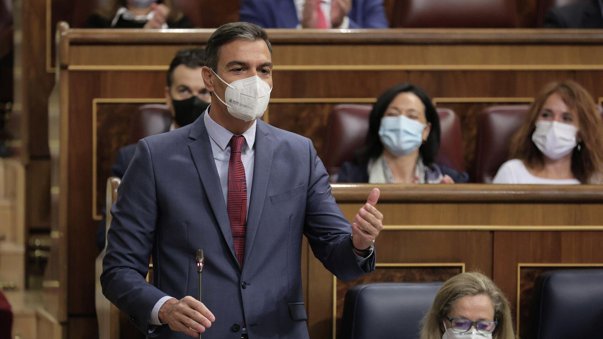 El presidente del Gobierno, Pedro Sánchez, en la sesión de control al Gobierno en el Congreso de los Diputados - Sputnik Mundo, 1920, 29.09.2021