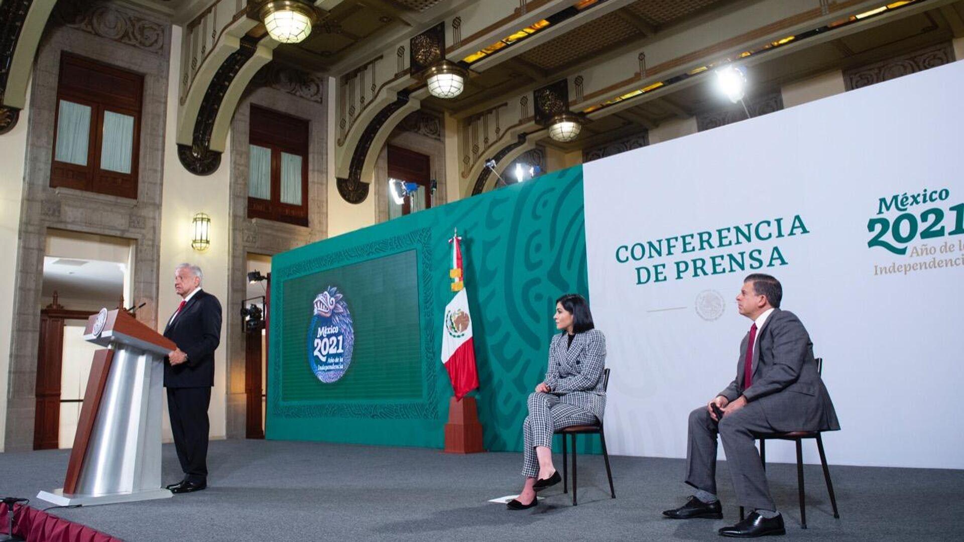 Andrés Manuel López Obrador, Ana García Vilchis y Ricardo Sheffield - Sputnik Mundo, 1920, 29.09.2021