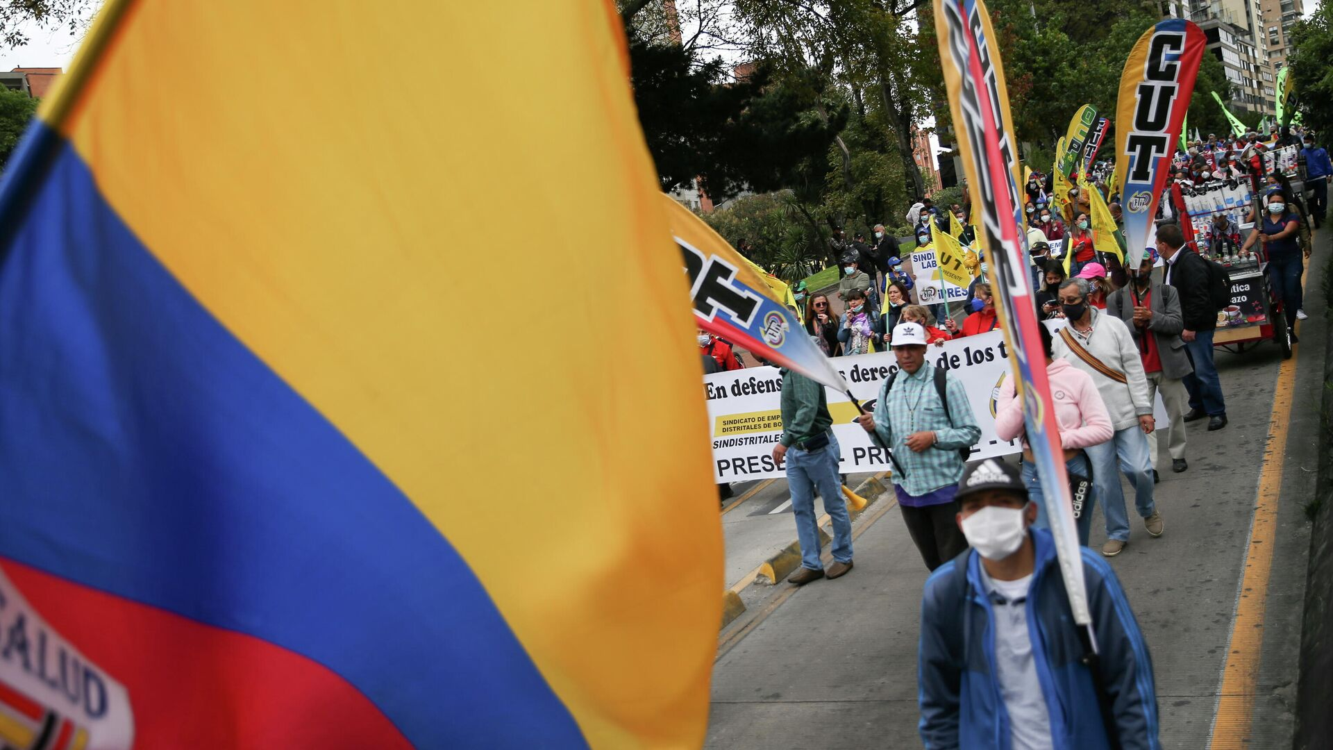 Una marchas contra el gobierno de Iván Duque para protestar por la nueva reforma tributaria - Sputnik Mundo, 1920, 29.09.2021