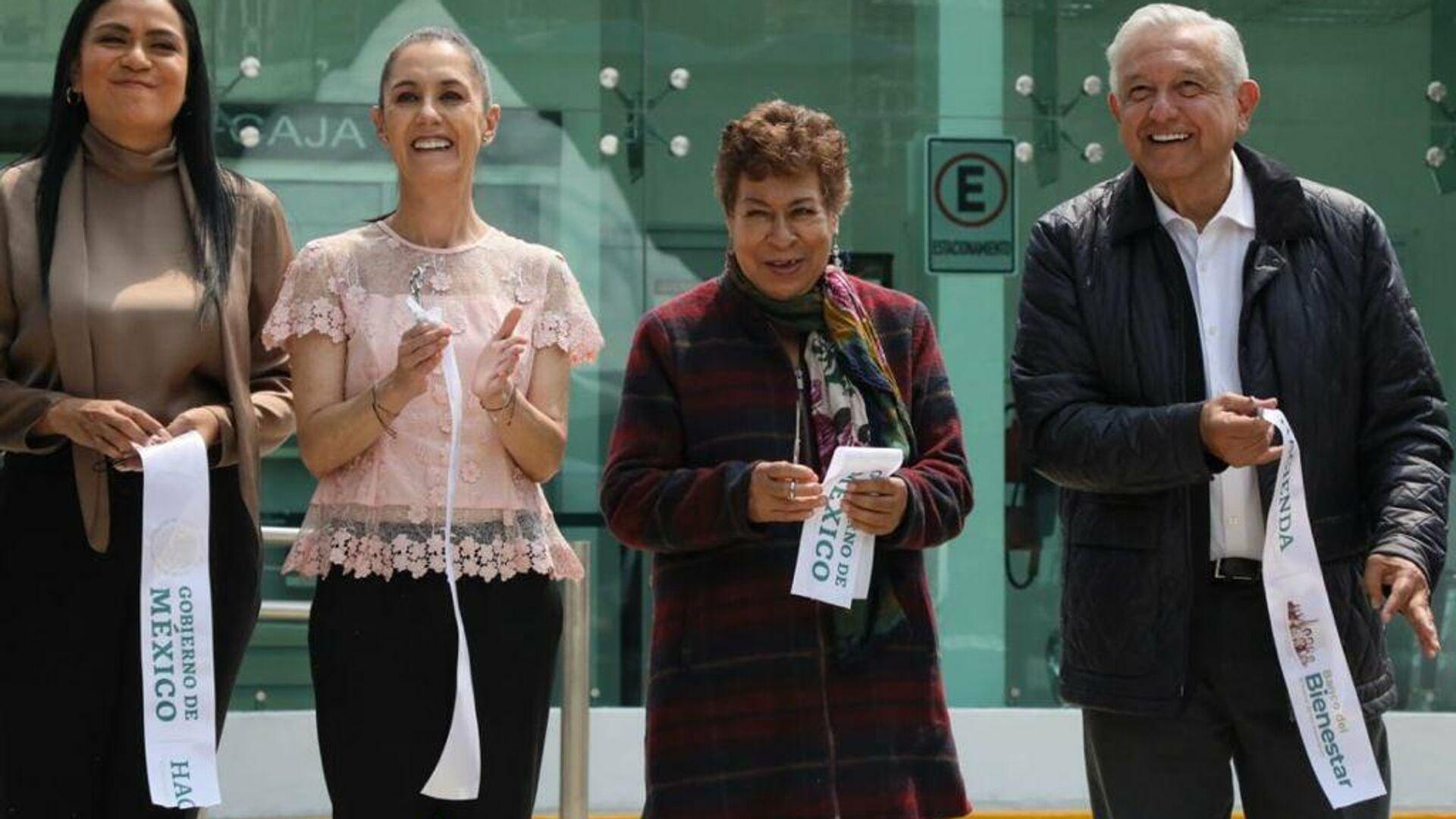El presidente de México, Andrés Manuel López Obrador, inauguró sucursal del Banco de Bienestar, acompañado de la jefa de gobierno de la Ciudad de México, Claudia Sheinbaum - Sputnik Mundo, 1920, 29.09.2021