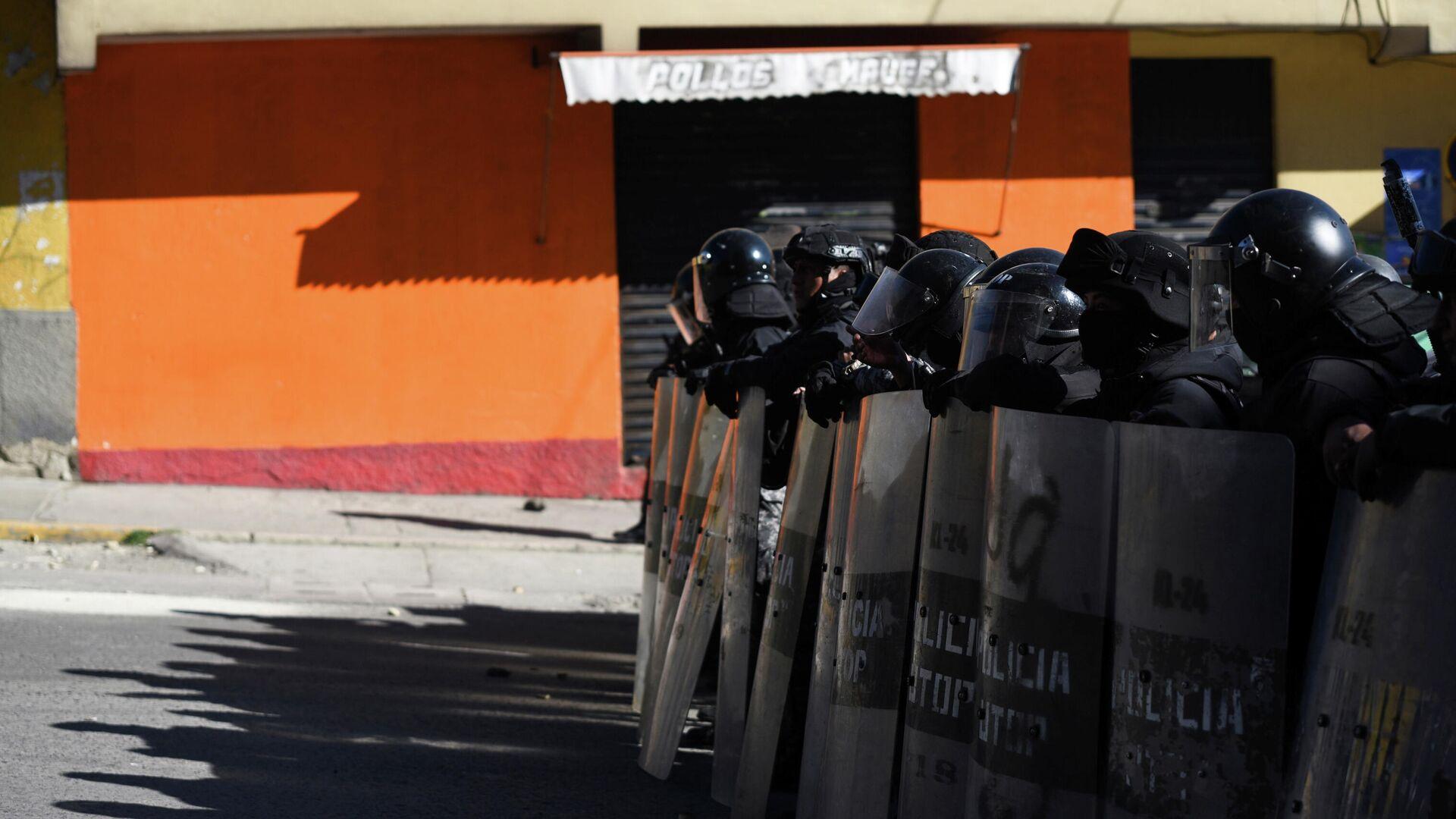Policía boliviana durante las manifestaciones de cocaleros en La Paz - Sputnik Mundo, 1920, 30.09.2021