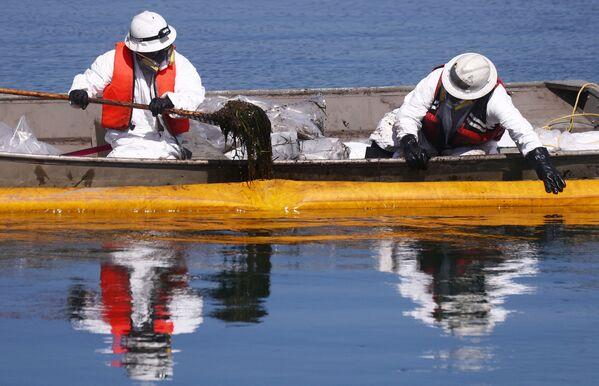Aproximadamente 477.000 litros de petróleo (unos 126.000 galones) se han vertido en las aguas del océano Pacífico, frente a las costas de California, según calculan las autoridades locales.En la foto: el petróleo filtrado de un oleoducto submarino frente a la costa de California. - Sputnik Mundo