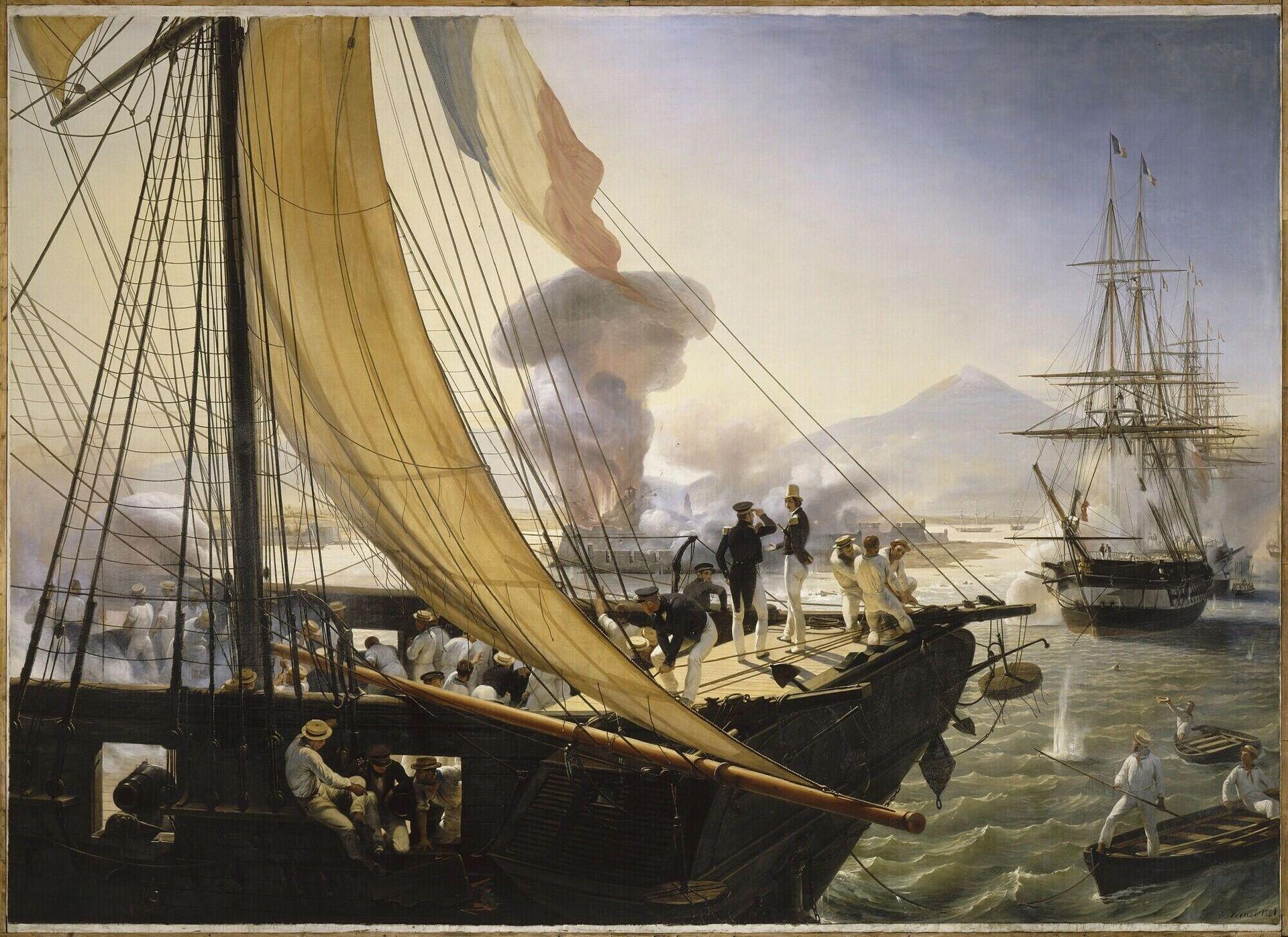 Episodio de la expedición a México en 1838, el príncipe de Joinville en el castillo de proa de la corbeta Créole escucha el informe del teniente de navío Penaud y asiste a la explosión de la torre del fuerte de San Juan de Ulloa, el 27 de noviembre de 1838. - Sputnik Mundo, 1920, 05.10.2021