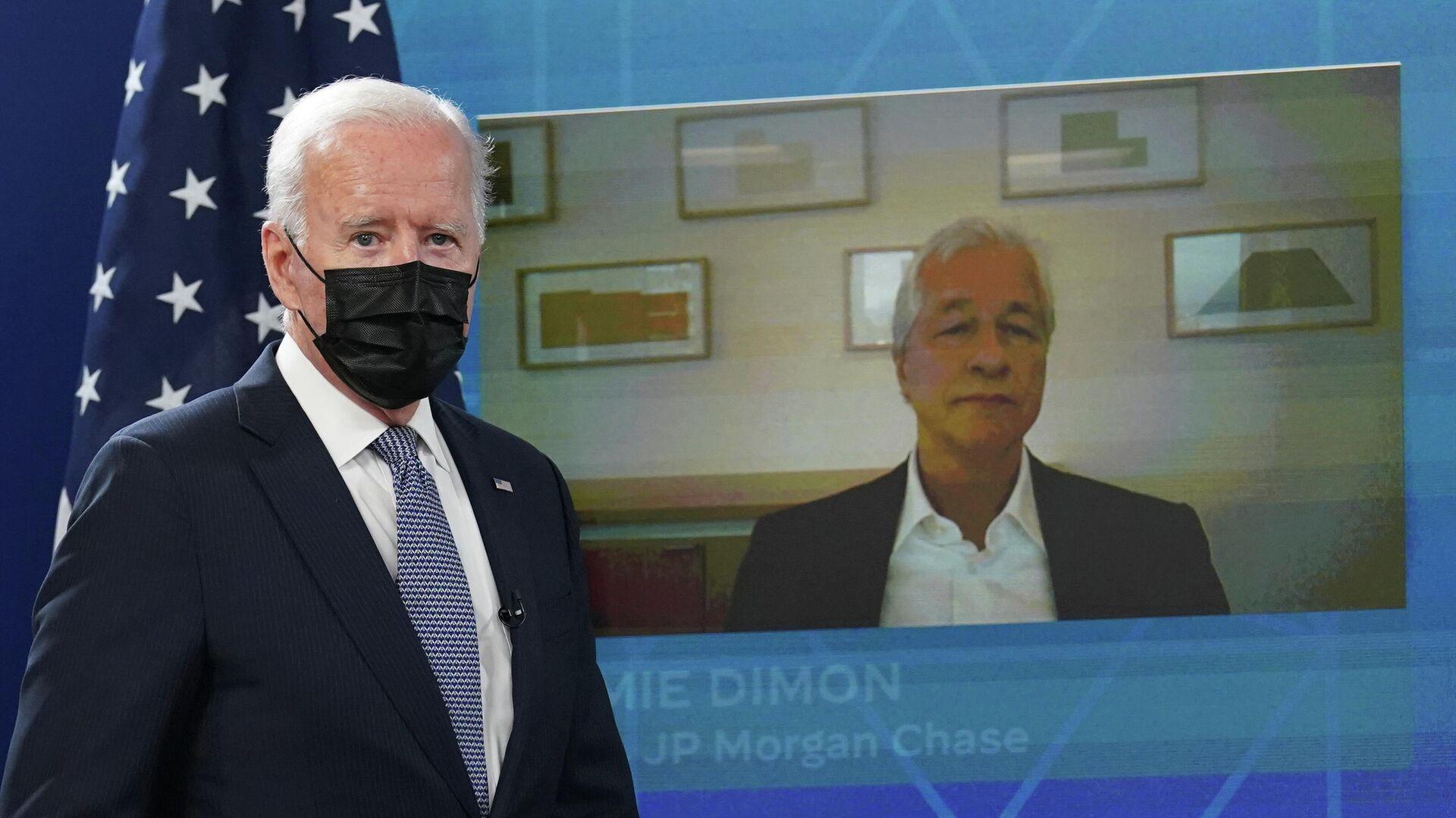 Una reunión virtual del director ejecutivo deJPMorgan Chase, Jamie Dimon, con el presidente Joe Biden - Sputnik Mundo, 1920, 06.10.2021