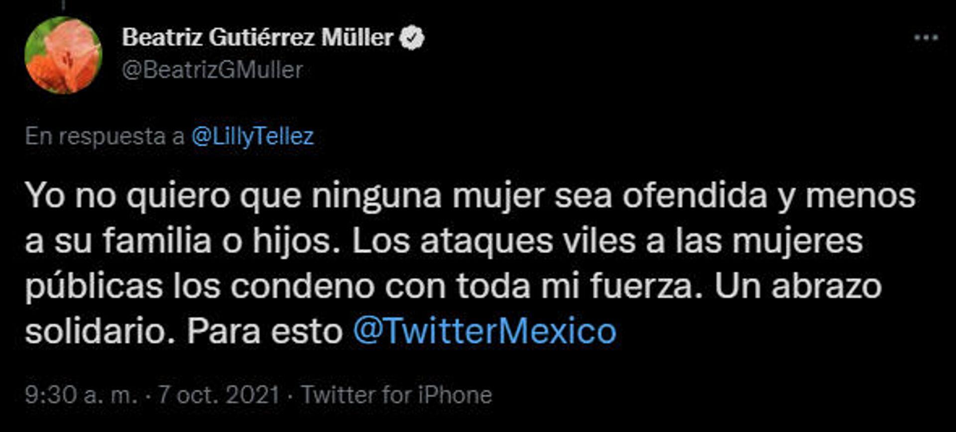 Tuit de Beatriz Gutiérrez Müller a Lilly Téllez  - Sputnik Mundo, 1920, 07.10.2021