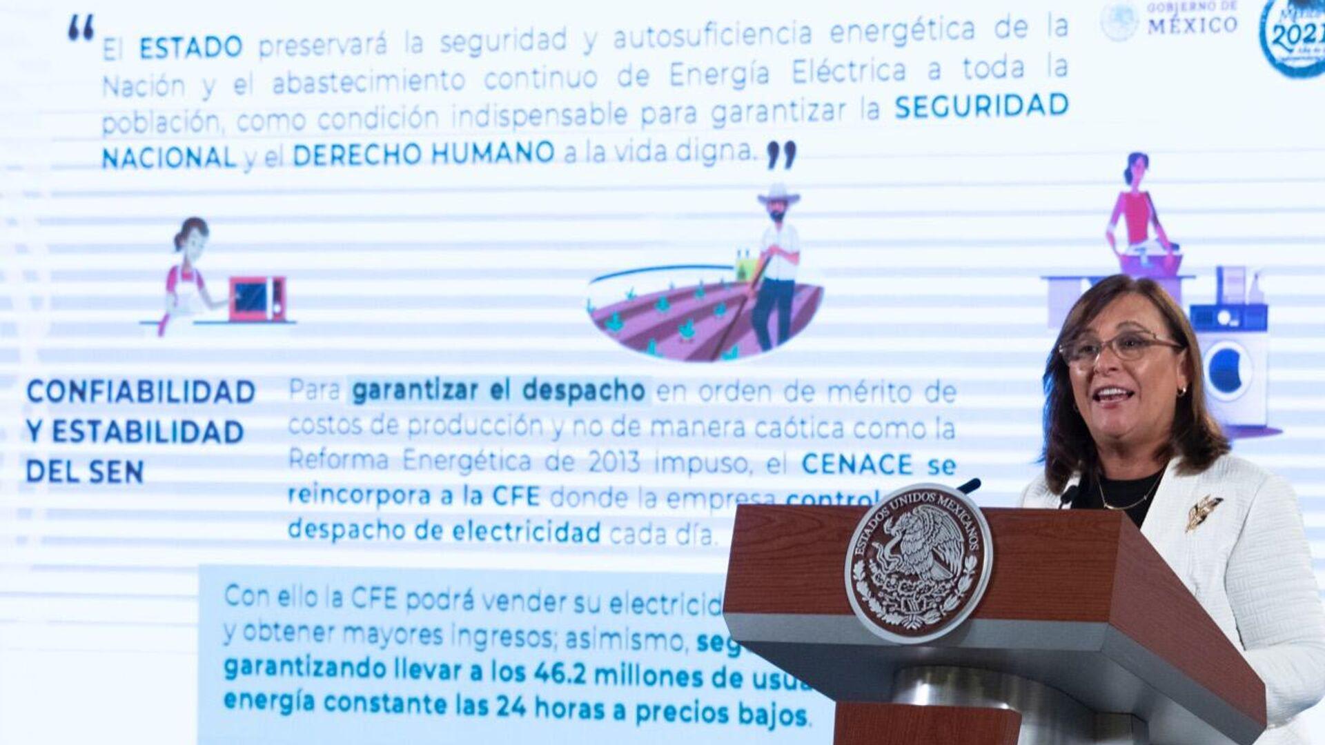 Rocío Nahle, titular de la Secretaría de Energía - Sputnik Mundo, 1920, 11.10.2021