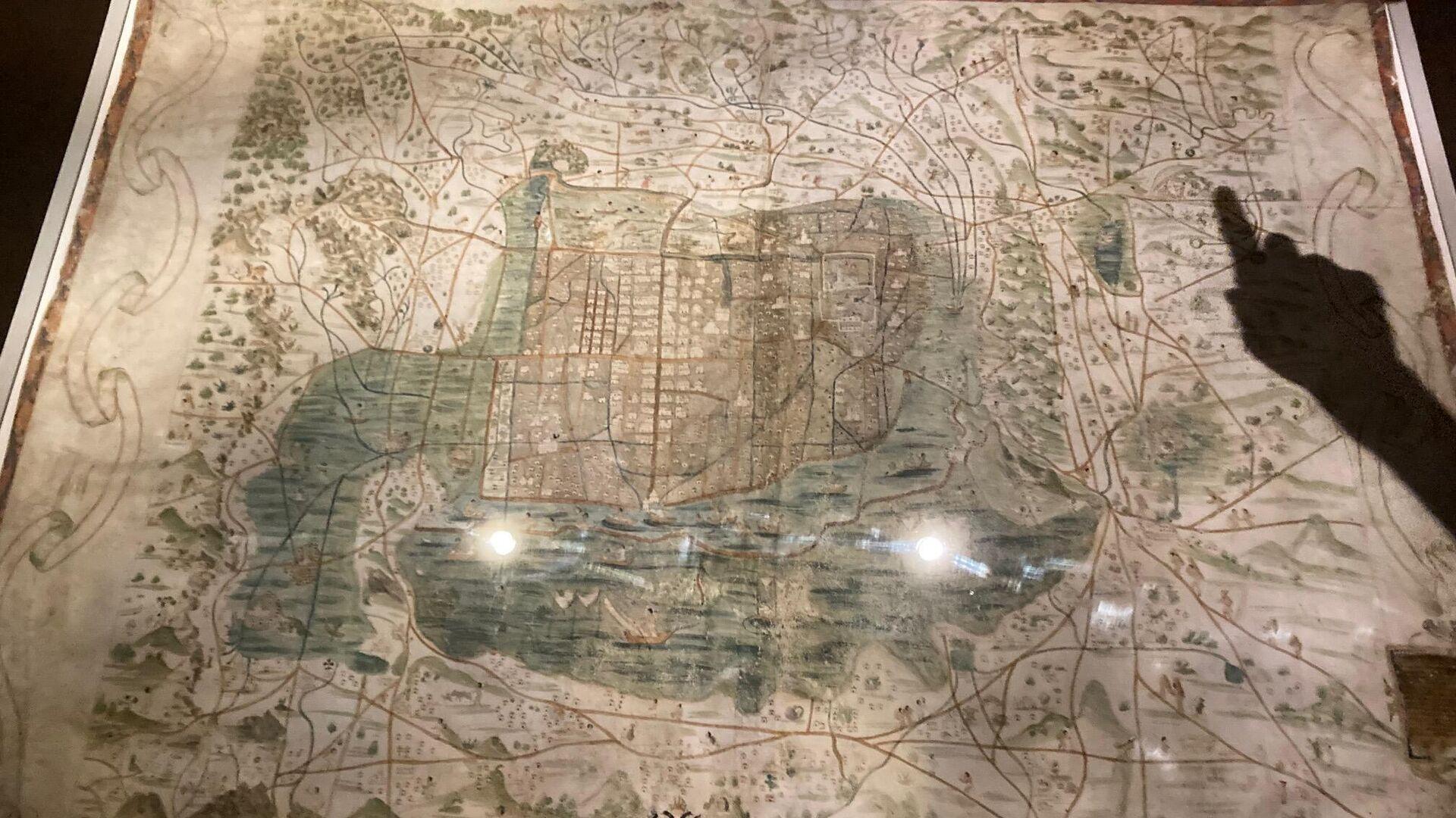 Mapa de México—Tenochtitlan y sus contornos del Valle de México hacia 1550, expuesto en el museo nacional de Antropología en la Ciudad de México  - Sputnik Mundo, 1920, 11.10.2021