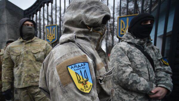 Пикет батальона Айдар у Минобороны Украины - Sputnik Mundo