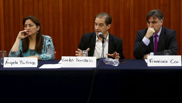 Members of the Inter-American Human Rights Commission (CIDH) Angela Buitrago (L-R), Carlos Beristain and Francisco Cox attend a news conference in Mexico City - Sputnik Mundo