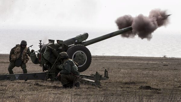 Ukraine's voluntary militia called the Azov Battalion holds artillery training in east Ukraine's village of Urzuf that sits west of the port city of Mariupol on the Azov Sea, March 19, 2015. - Sputnik Mundo