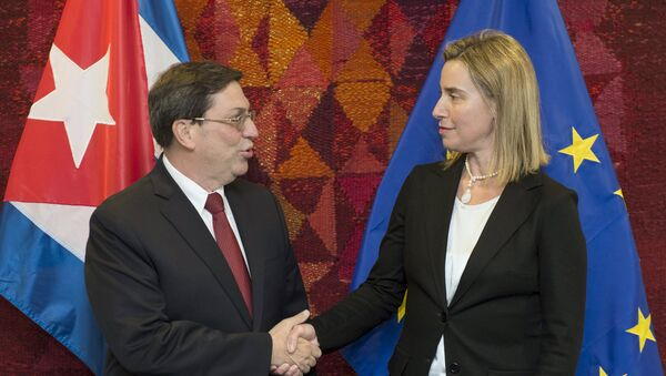 Ministro de Exteriores de Cuba, Bruno Rodríguez y alta representante de la UE para Asuntos Exteriores y Política de Seguridad, Federica Mogherini - Sputnik Mundo