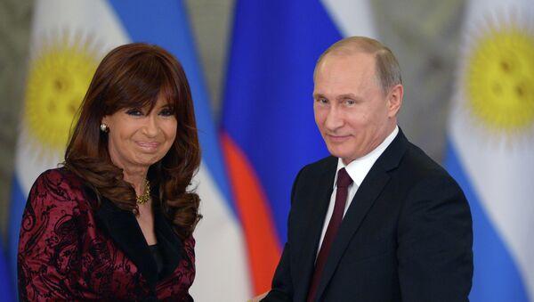 Presidenta de Argentina, Cristina Fernández de Kirchner y presidente de Rusia, Vladímir Putin, abril de 2015 - Sputnik Mundo