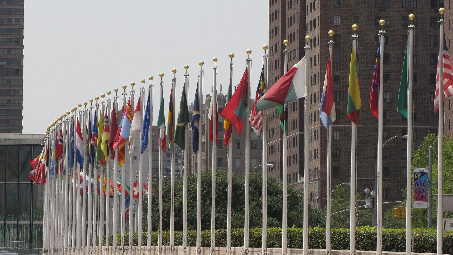 Banderas de los Estados Miembros de las Naciones Unidas frente de la sede de la ONU en Nueva York - Sputnik Mundo, 1920, 13.10.2021
