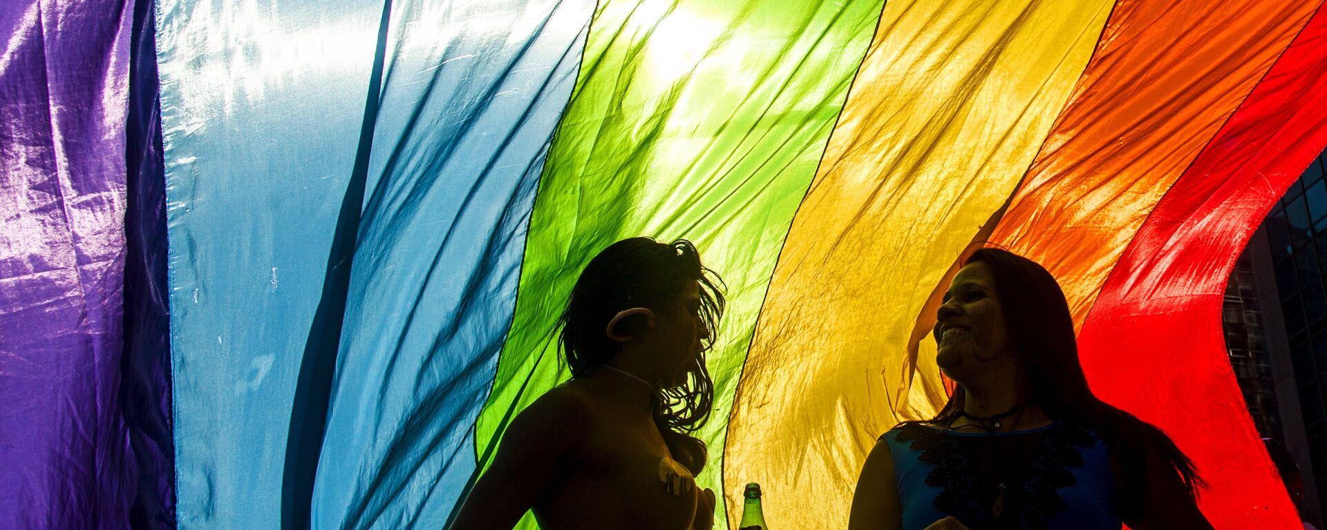 Revellers take part in the 19th Gay Pride parade along Paulista Avenue in Sao Paulo, Brazil, June 7, 2015 - Sputnik Mundo, 1920, 11.07.2019