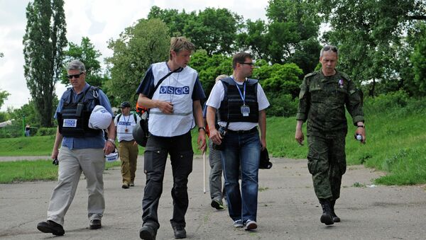 Observadores de la OSCE en Donetsk (Archivo) - Sputnik Mundo