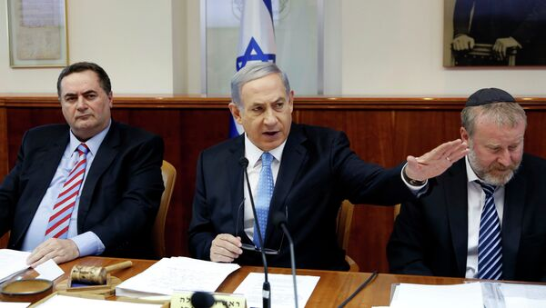 Benjamín Netanyahu, primer ministro de Israel (centro) - Sputnik Mundo