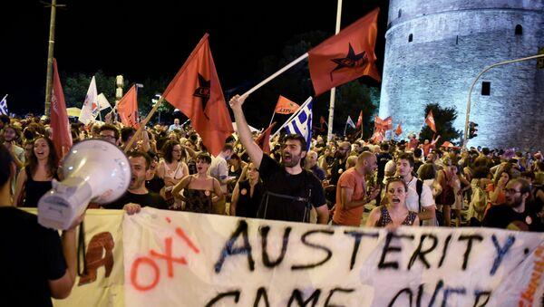 Partidarios de 'NO' celebran los resultados del referéndum griego - Sputnik Mundo