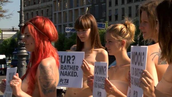 Activistas de PETA se desnudan en Berlín - Sputnik Mundo