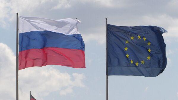 Banderas de UE, Rusia y Alemania - Sputnik Mundo