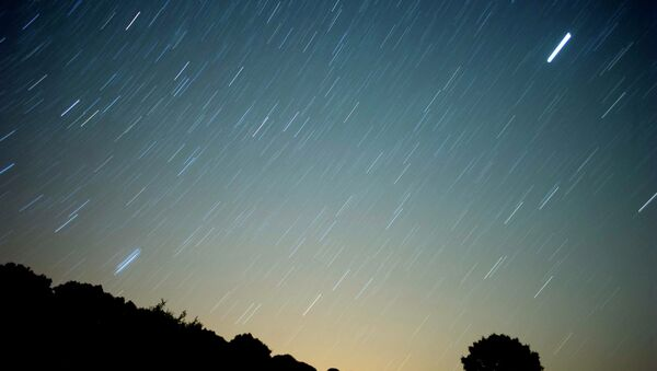 A meteor streaks across the sky against a field of stars during a meteorite shower early August 13, 2010 near Grazalema, southern Spain - Sputnik Mundo
