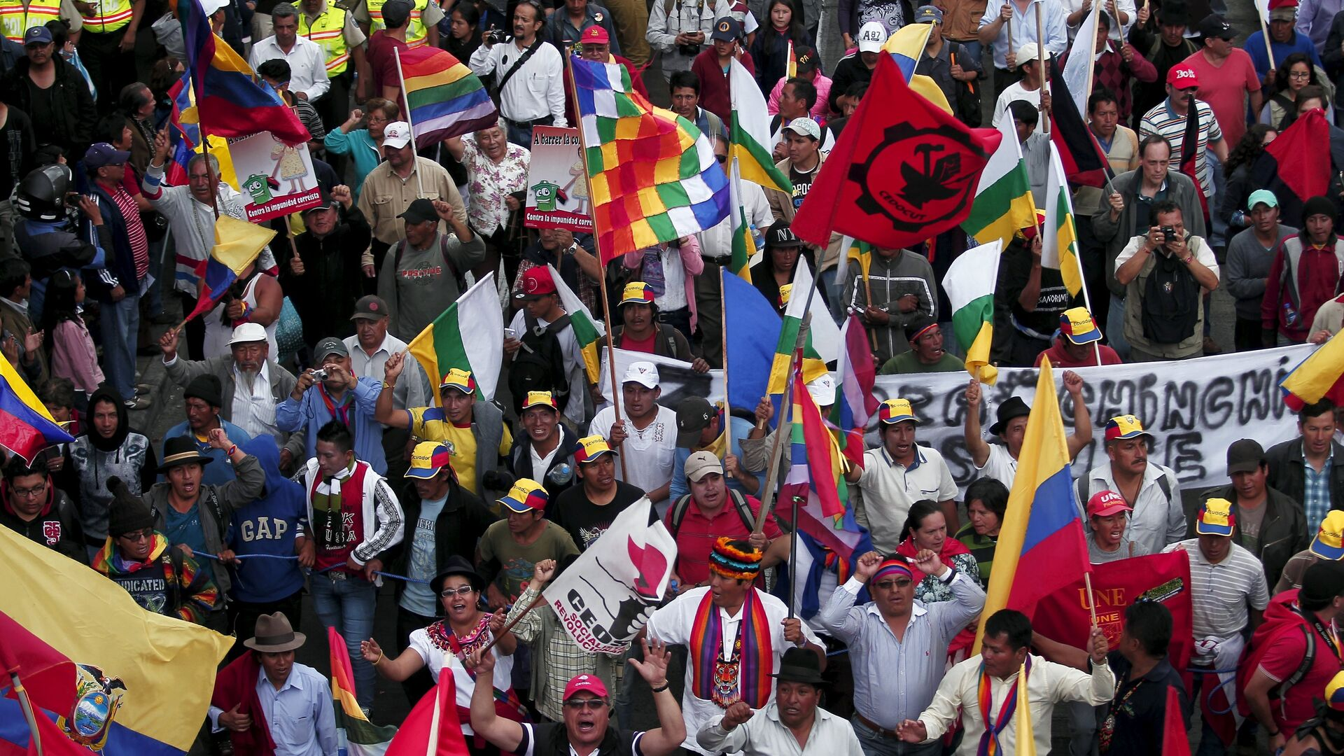 Protesters carry flags and banners while marching in Quito, Ecuador, August 12, 2015 - Sputnik Mundo, 1920, 13.10.2021