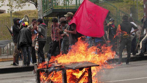 Manifestantes en Quito, Ecuador - Sputnik Mundo