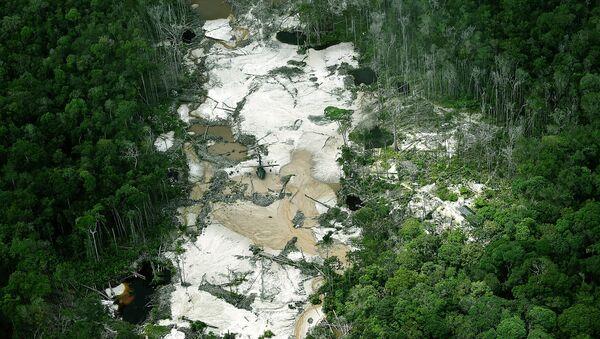 Mina de oro ilegal en la reserva natural Puinawai, Departamento de Guainía, Colombia - Sputnik Mundo