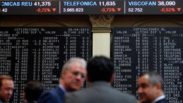 IBEX-35 index display in the Madrid stock exchange - Sputnik Mundo