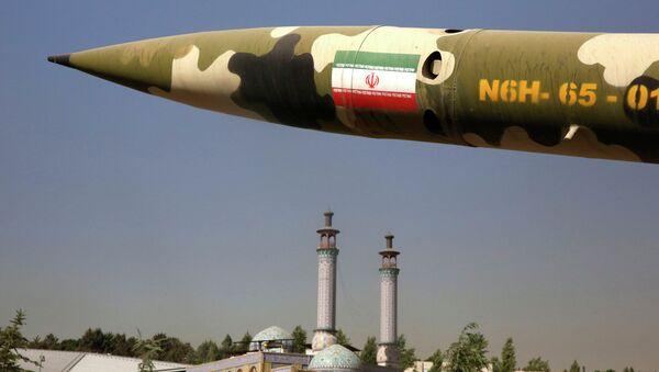 Misil iraní en la exposición sobre guerra entre Irak e Irán de 1980-1988 en Teherán, Irán - Sputnik Mundo