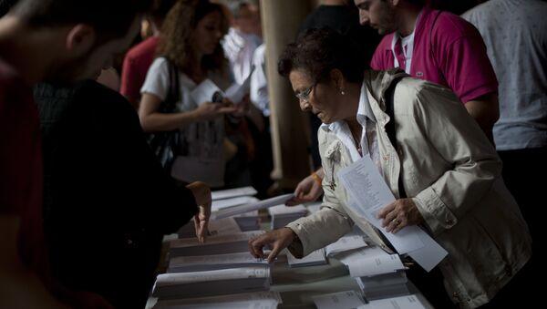 Colegio electoral en Barcelona, el 27 de septiembre, 2015 - Sputnik Mundo