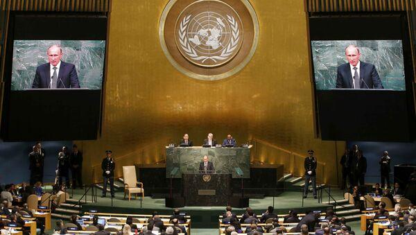 Vladímir Putin, presidente de Rusia, durante la 70 sesión de la asamblea general de la ONU - Sputnik Mundo