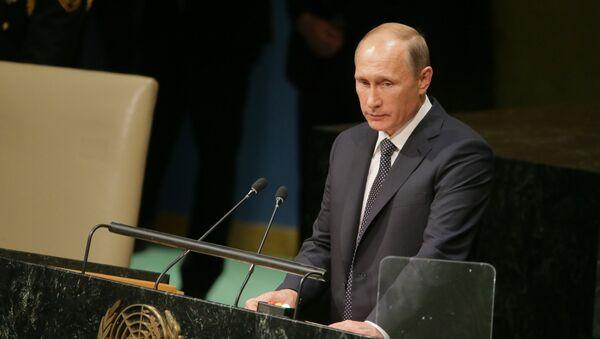 Vladímir Putin, presidente de Rusia, durante la 70ª sesión de la Asamblea General de la ONU - Sputnik Mundo