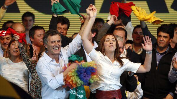 Candidato presidencial en Argentina, Mauricio Macri y candidata a gobernar la provincia de Buenos Aires, María Eugenia Vidal - Sputnik Mundo