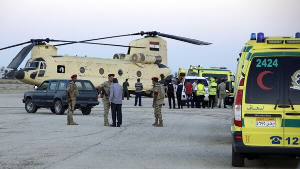 Trabajadores de emergencia egipcios trasladan los cuerpos de los pasajeros del Airbus-321 a las ambulancias en el aeropuerto militar Kabrit - Sputnik Mundo