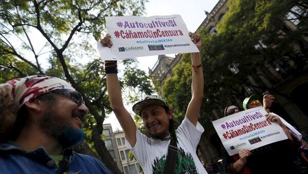Manifestación en apoyo a la legalización de la marihuana, México - Sputnik Mundo