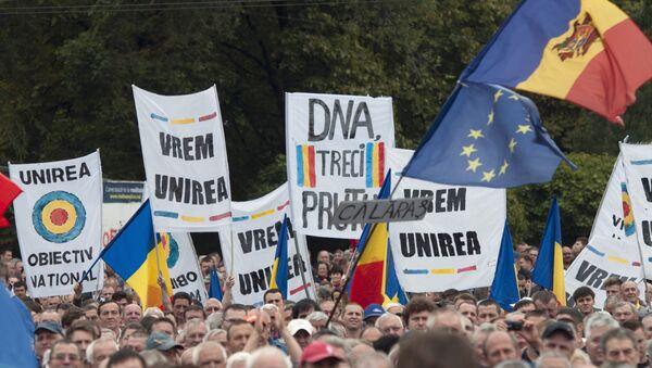 Manifestación a favor de dimisión del presidente moldavo Nicolae Timofti en Chisináu - Sputnik Mundo