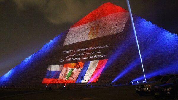 Las pirámides de Egipto se iluminan con las banderas de Rusia, Francia y el Líbano - Sputnik Mundo