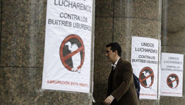 Signos apostados en la entrada del Ministerio de Economía de Argentina - Sputnik Mundo