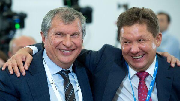 Presidente de Rosneft, Igor Sechin y presidente de Gazprom, Alexéi Miller - Sputnik Mundo