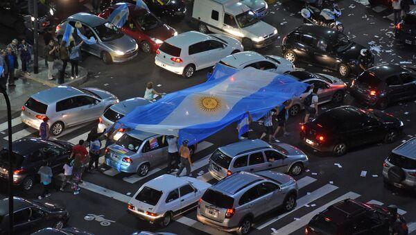 Partidarios de Mauricio Macri celbran su victoria en las calles de Buenos Aires - Sputnik Mundo